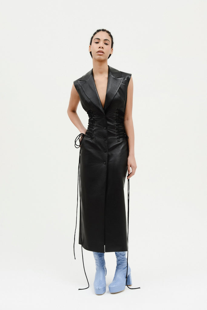 Faux leather vest w/waist ties - Materiel
