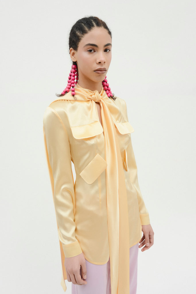 Long blouse w/neck ties - Materiel