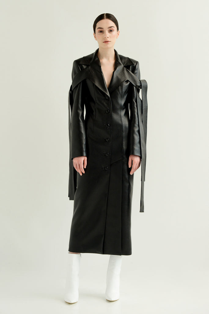 Faux leather coat w/ ties - Materiel