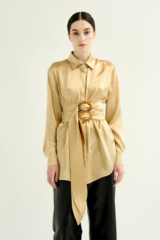 Silk blouse w/ double belt - Materiel