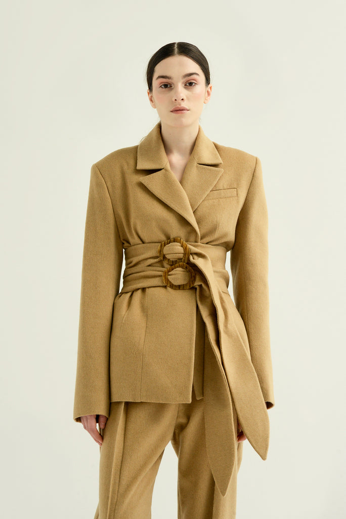 Wool blazer w/ double belt - Materiel