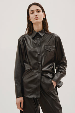 Faux leather button shirt by Materiel Tbilisi, available on materieltbilisi.com for $549 Kylie Jenner Outerwear Exact Product