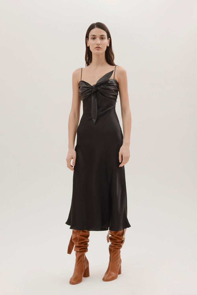 Silk slip dress w/overlayer bra - Materiel