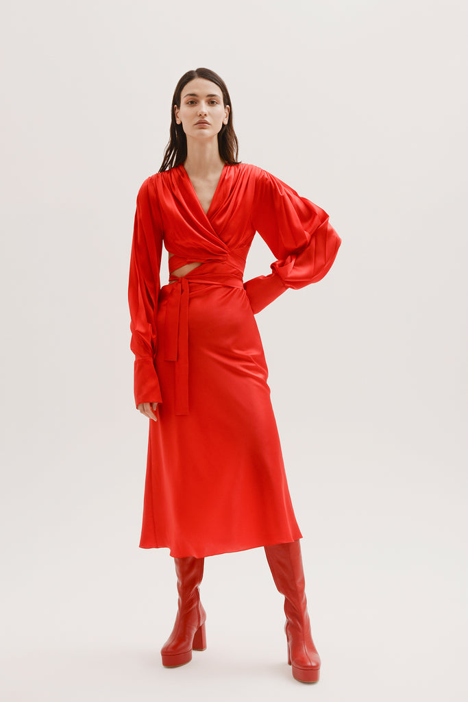 Silk wrap around dress w/cut out - Materiel
