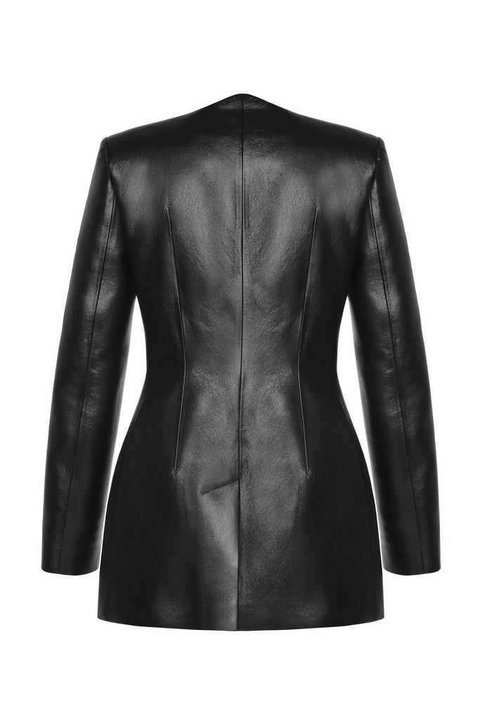 Faux leather wave Short Coat - Materiel