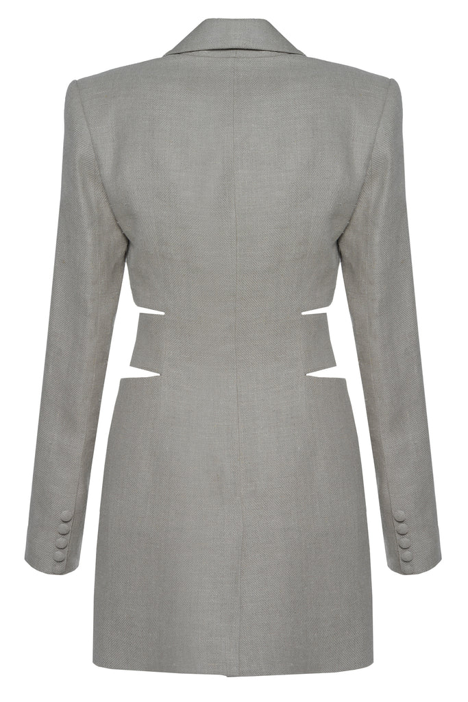 Linen Cut Out Waist Dress - Materiel