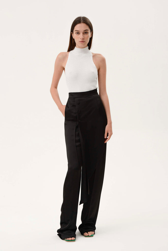 SATIN ASYMMETRICAL LAYER PANTS - Materiel