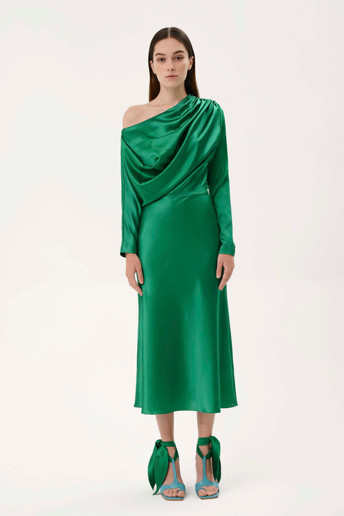 SILK DRAPED DRESS - Materiel