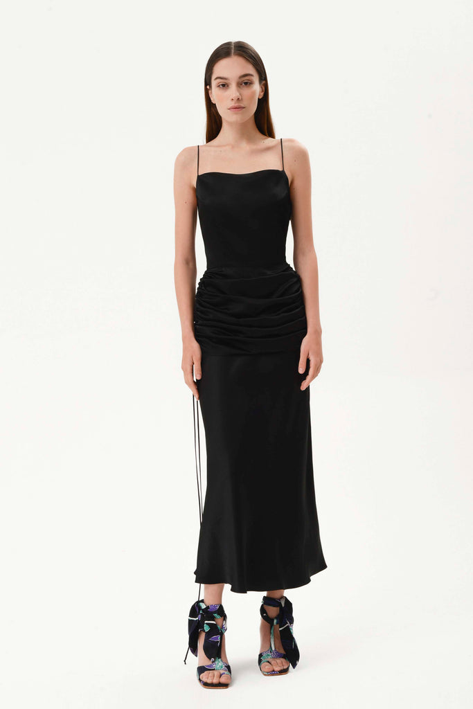 DRAPED WAIST SLIP DRESS - Materiel