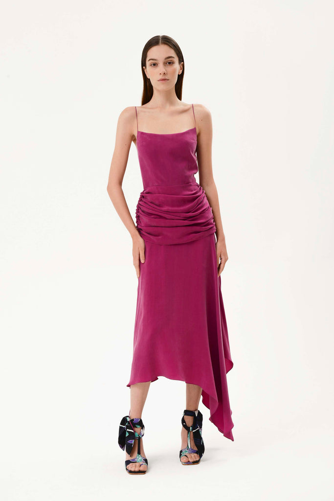 DRAPED WAIST SLIP DRESS W/TIED BACK - Materiel