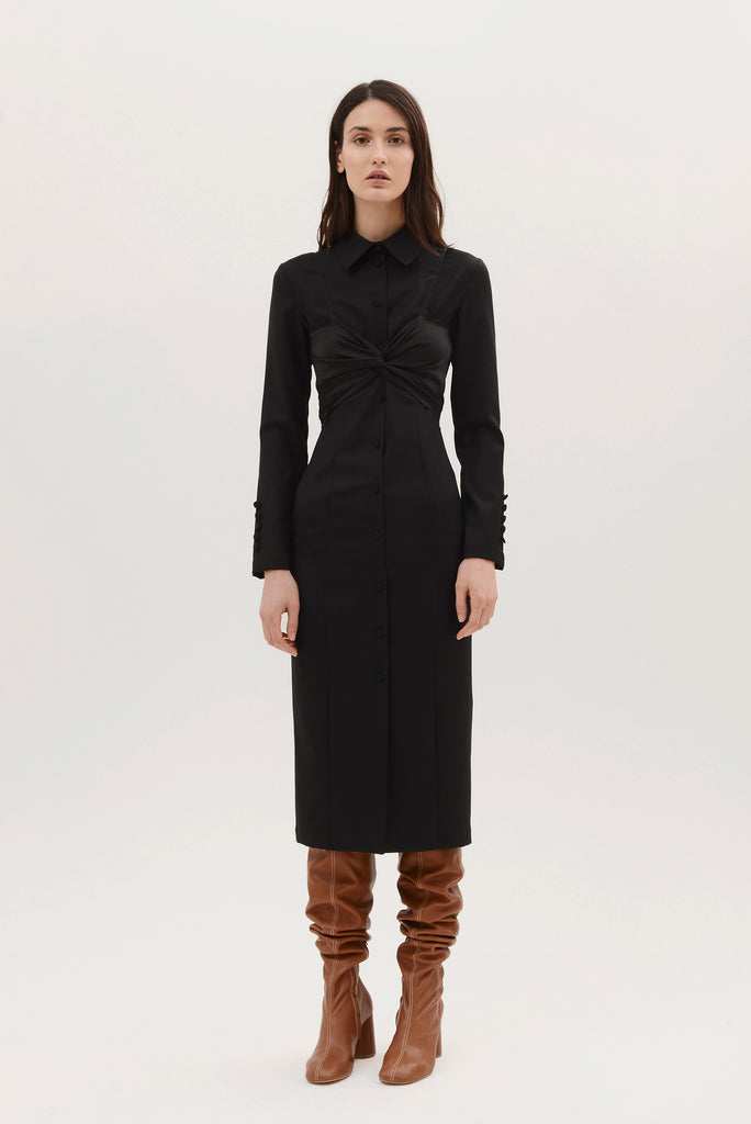Button down dress w/overlayer - Materiel