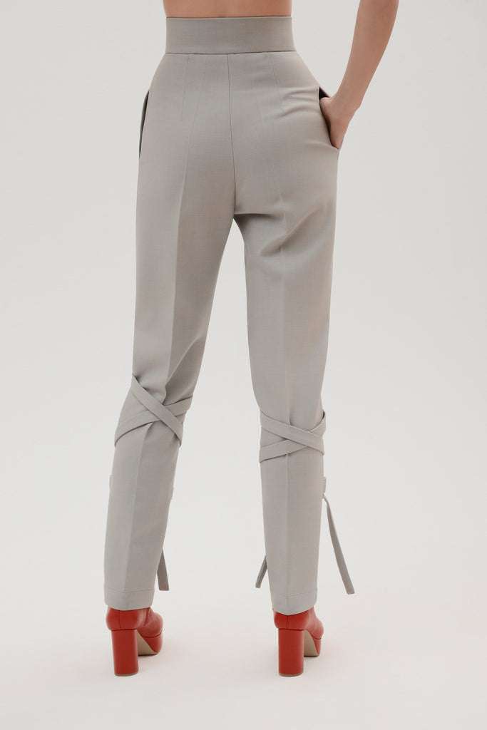 Wool high waist pants w/straps - Materiel