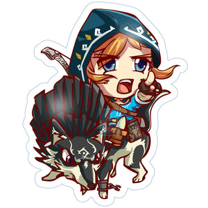 BotW Link and Wolf Link Sticker