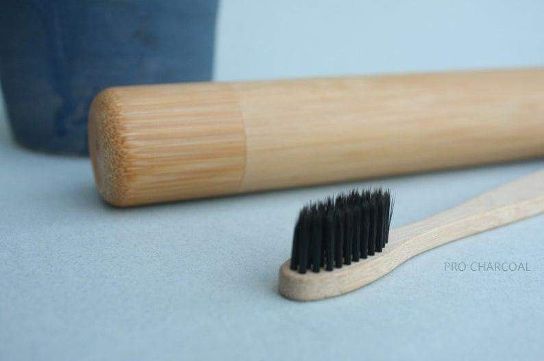 Pitch Black Bamboo Wood Toothbrush - Pro Charcoal