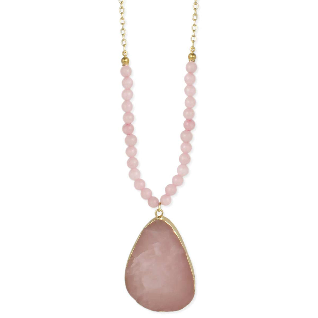 Rose Quartz Slice Necklace