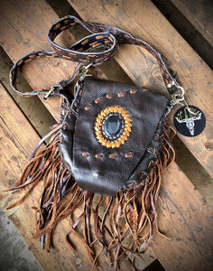 Handmade Leather Fringed Purse Small