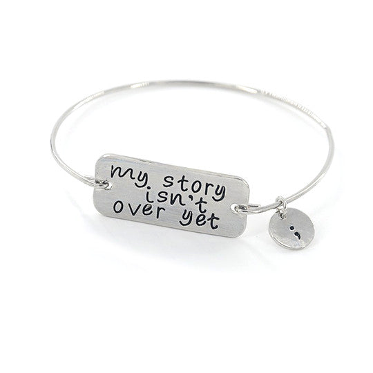 Silver Suicide Awareness Bangle