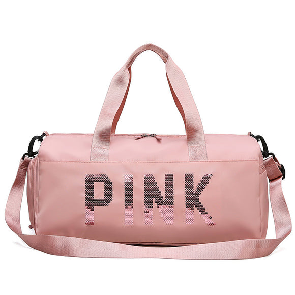 Pink-Travel-Sports-Gym-Training-Fitness-Duffle-Bag-For-Women