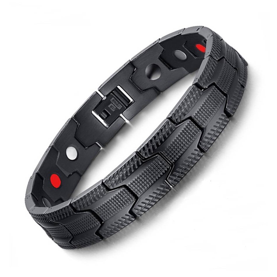 Rugged Pain Relief Stainless Steel Magnetic Bracelet For Men