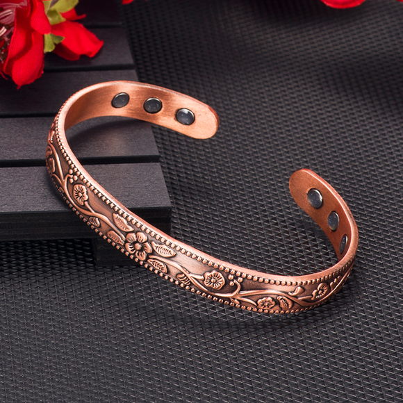Pure-Copper-Magnetic-Therapy-Bracelet-Ring-Bangle-Cuff-Set