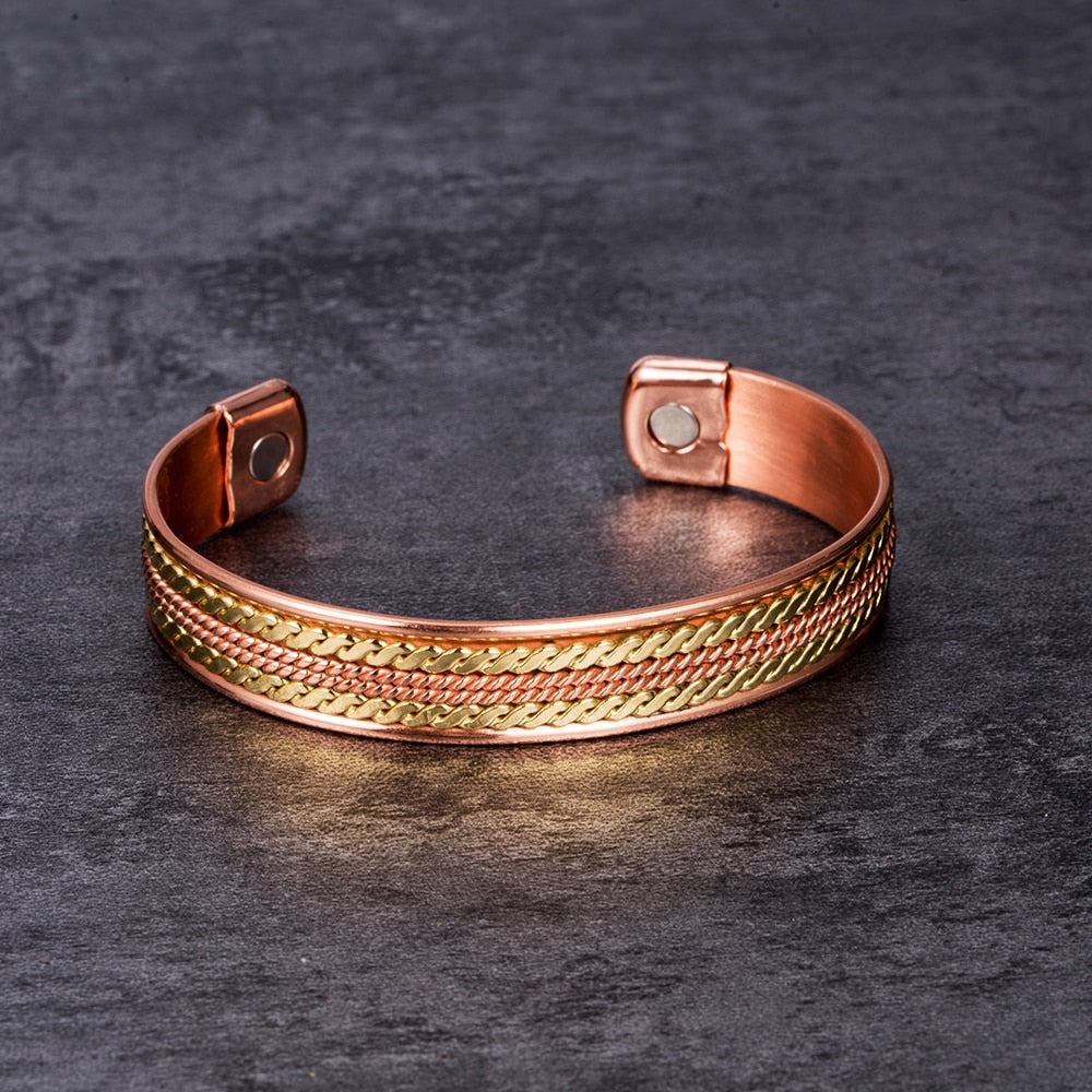Pure-Copper-Magnetic-Therapy-Bracelet-Bangle-Open-Cuff