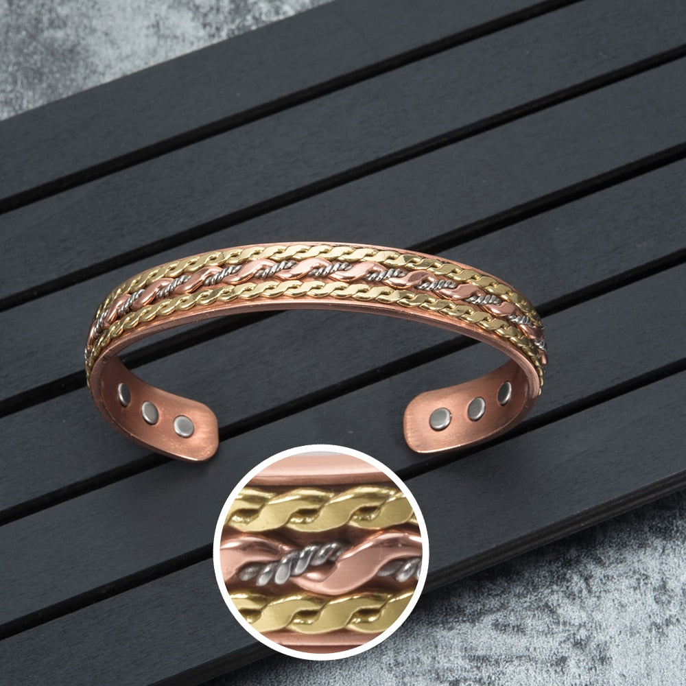 Magnetic-Therapy-Adjustable-Open-Cuff-Copper-Bracelet