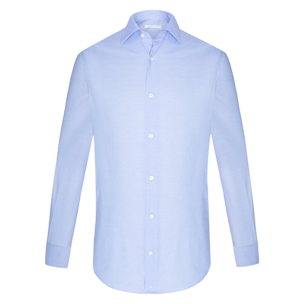 Camisa Business Casual Verano Topos Azul