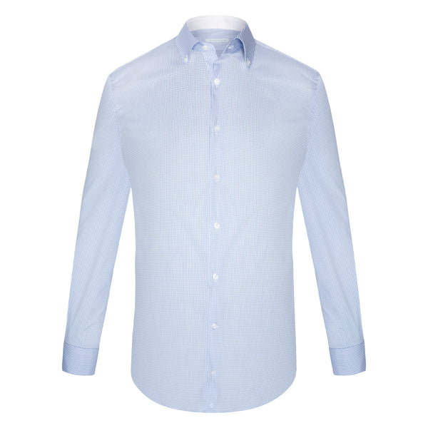 Camisa Business Casual Vichy Azul Claro -Stretch-