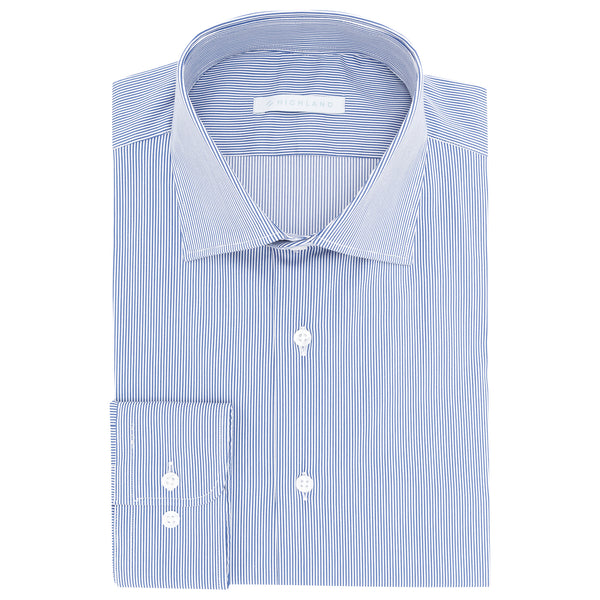 Camisa Business Casual Azul Micro Cuadro -Stretch-