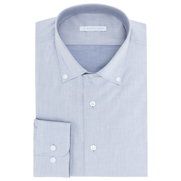 Camisa Business Casual Azul Lisa Contraste