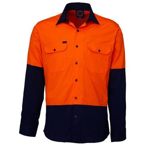 RITEMATE TWO-TONE VENTED LIGHT WEIGHT O/F L/S SHIRT - Claude Cater Mensland Mareeba