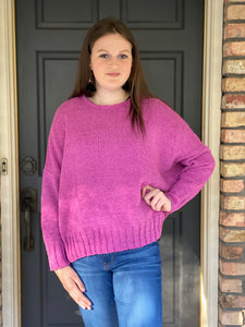 Fushia Open Back Sweater