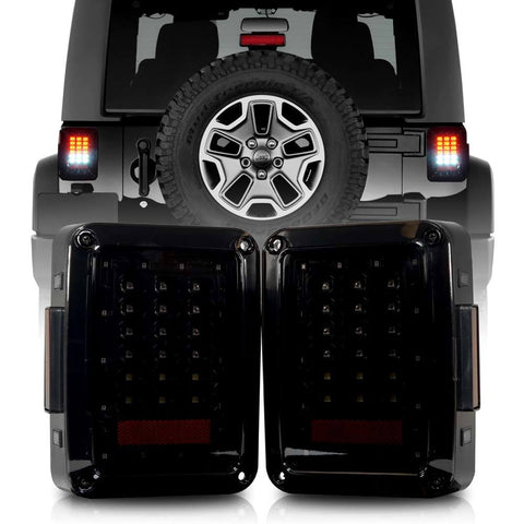 Jeep Wrangler JK 2007-2018 Smoked LED Tail Light.