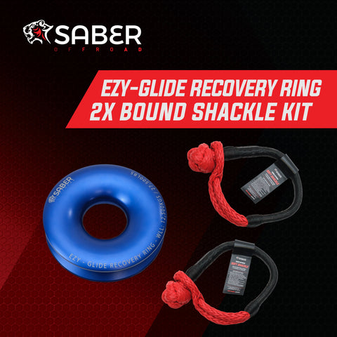 Saber Offroad Ezy-Glide Recovery Ring & Twin 17K Bound Soft Shackle Kit