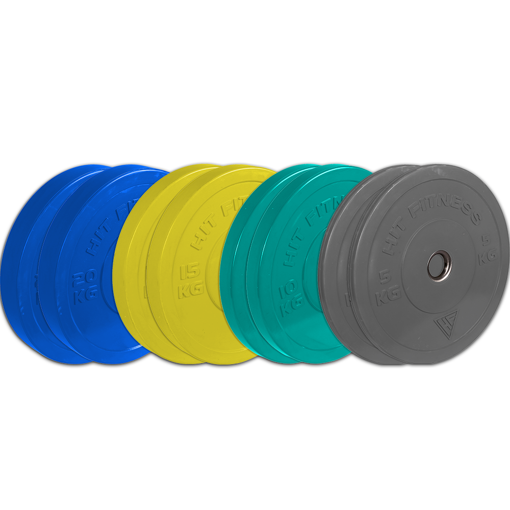 Hit Fitness 100kg Bumper Plate Set | Coloured