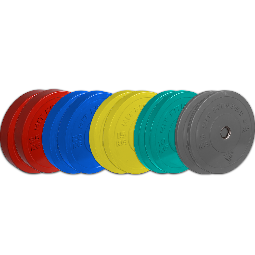 Hit Fitness 150kg Bumper Plate Set | Coloured