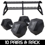 Hit Fitness Hex Dumbbells 5kg-30kg | With Horizontal Rack