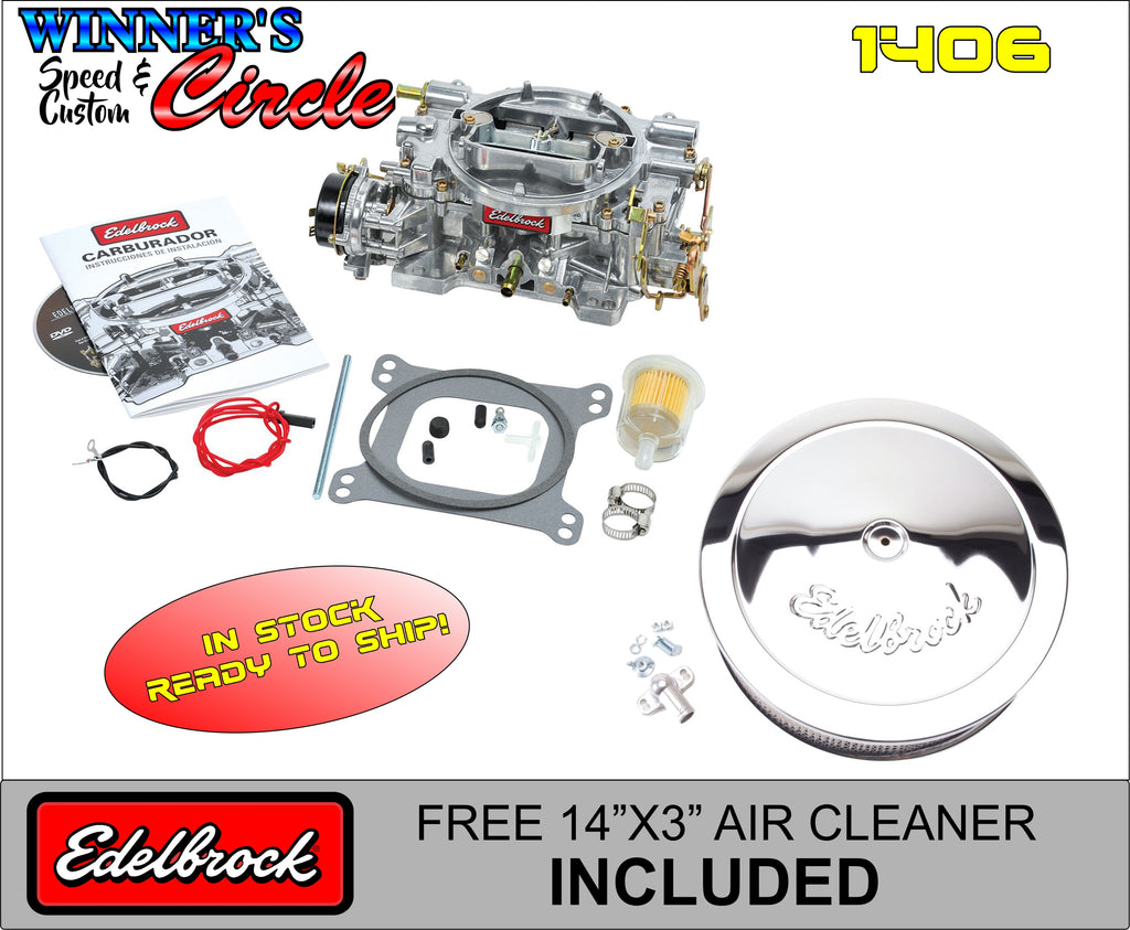 "Edelbrock 1406 Carburetor Elec Choke 600 CFM Sqr Bore w/ FREE 1221 Chrome Edelbrock 14"" Air Cleaner"