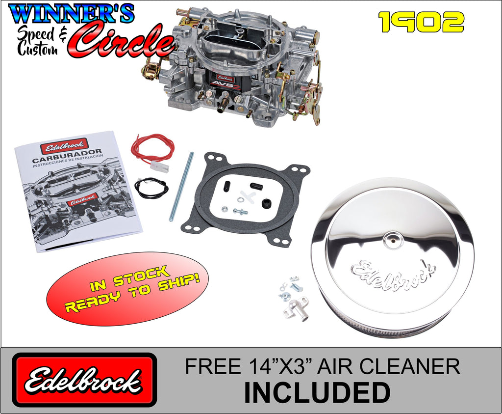 "Edelbrock 1902 AVS2 Series Carburetor Manual Choke 500 CFM with FREE 14"" Edelbrock Air Cleaner"