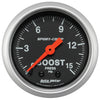 Autometer 3302 Sport-Comp Boost Pressure Gauge 2-1/16 in., Mechanical