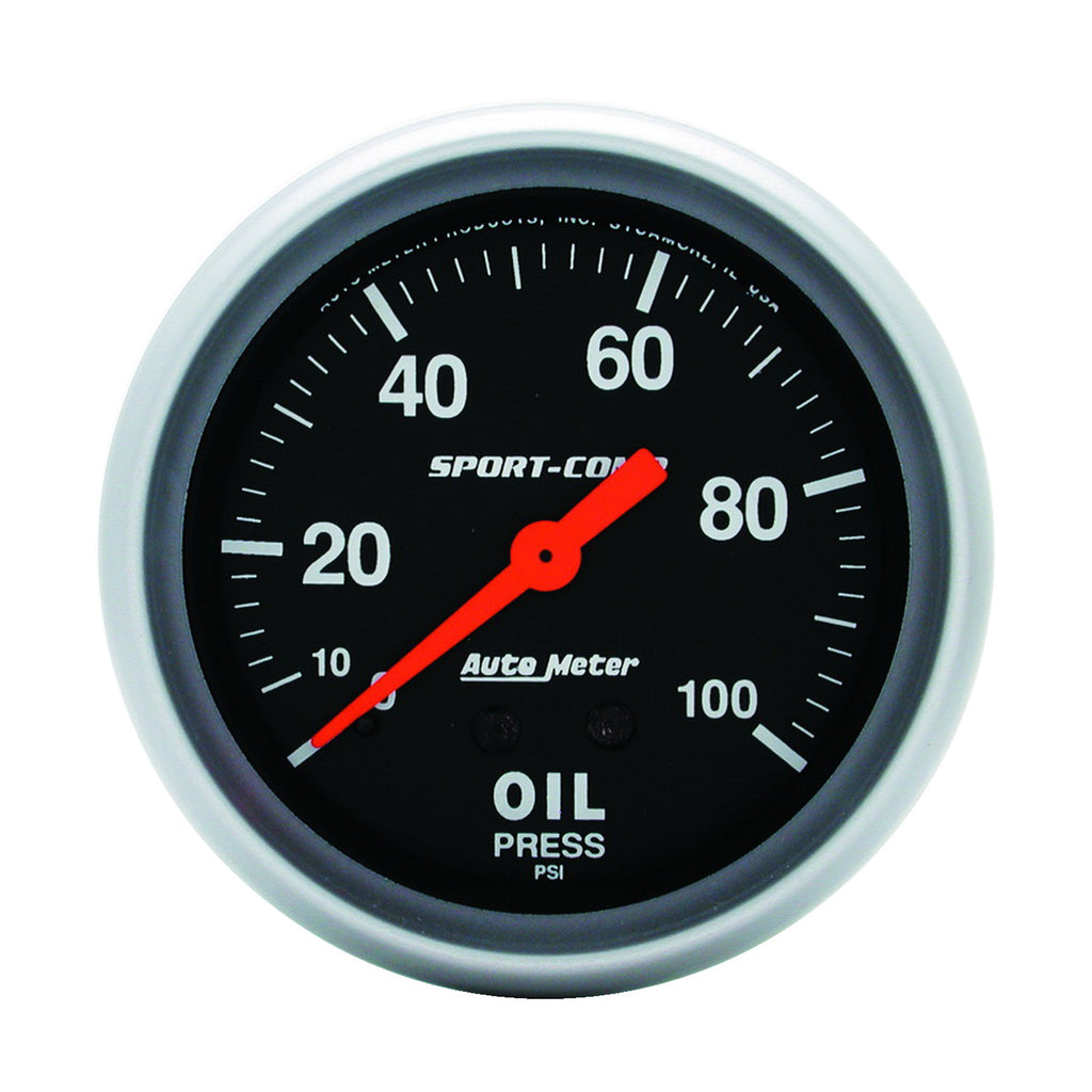 Autometer 3421 Sport-Comp Oil Pressure Gauge, 2-5/8 in., Mechanical