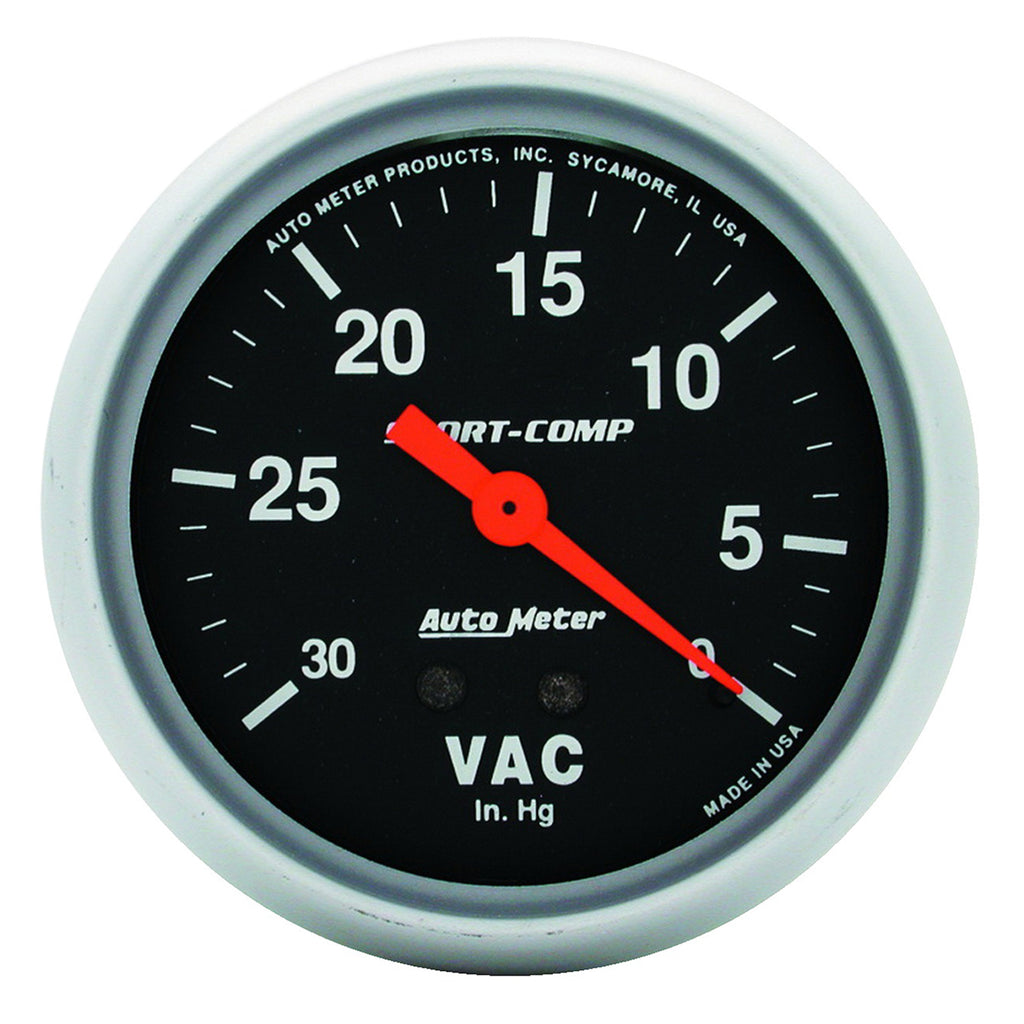 Autometer 3484 Sport-Comp Vacuum Gauge, 2-5/8 in., Mechanical