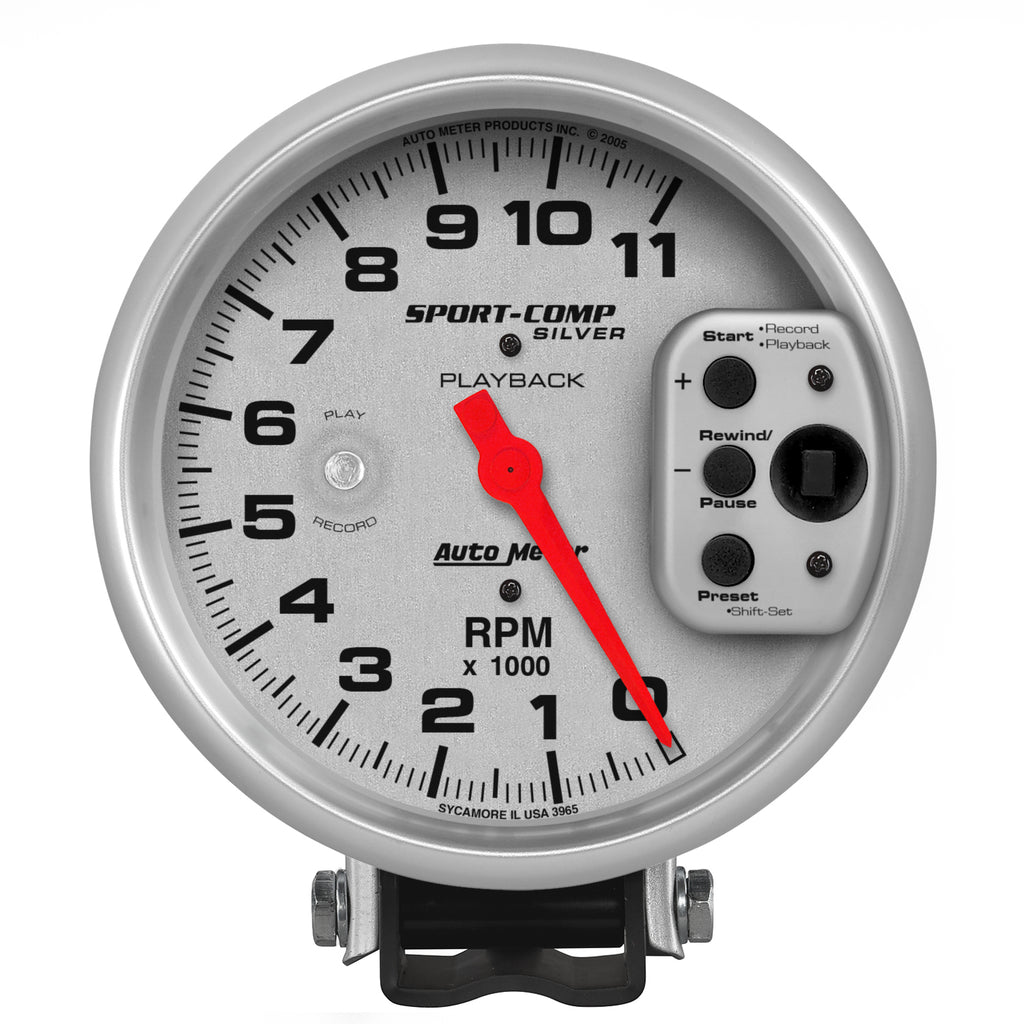 Autometer 3965 Sport-Comp Playback Tachometer Gauge, 5 in., Electrical