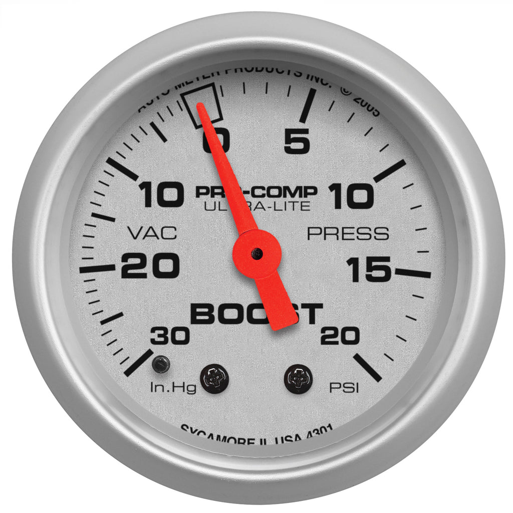 Autometer 4301 Ultra-Lite Vacuum/Boost Gauge 2-1/16 in., Mechanical
