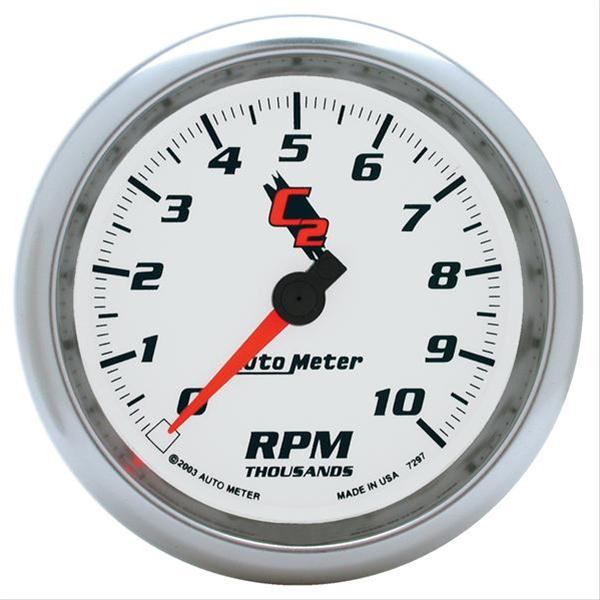 "Autometer 7297 C2 Series Tachometer, 3 3/8"", 10k RPM, In-Dash"