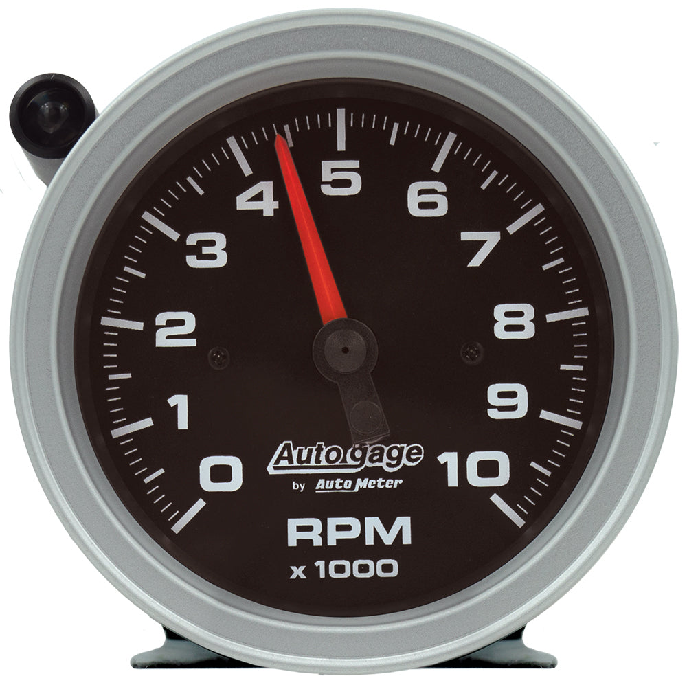 Autometer 233908 Tachometer, Auto Gage, 10000 RPM, Electric, Analog, 3-3/4 in Diameter, Pedestal Mount, Black Face, Each