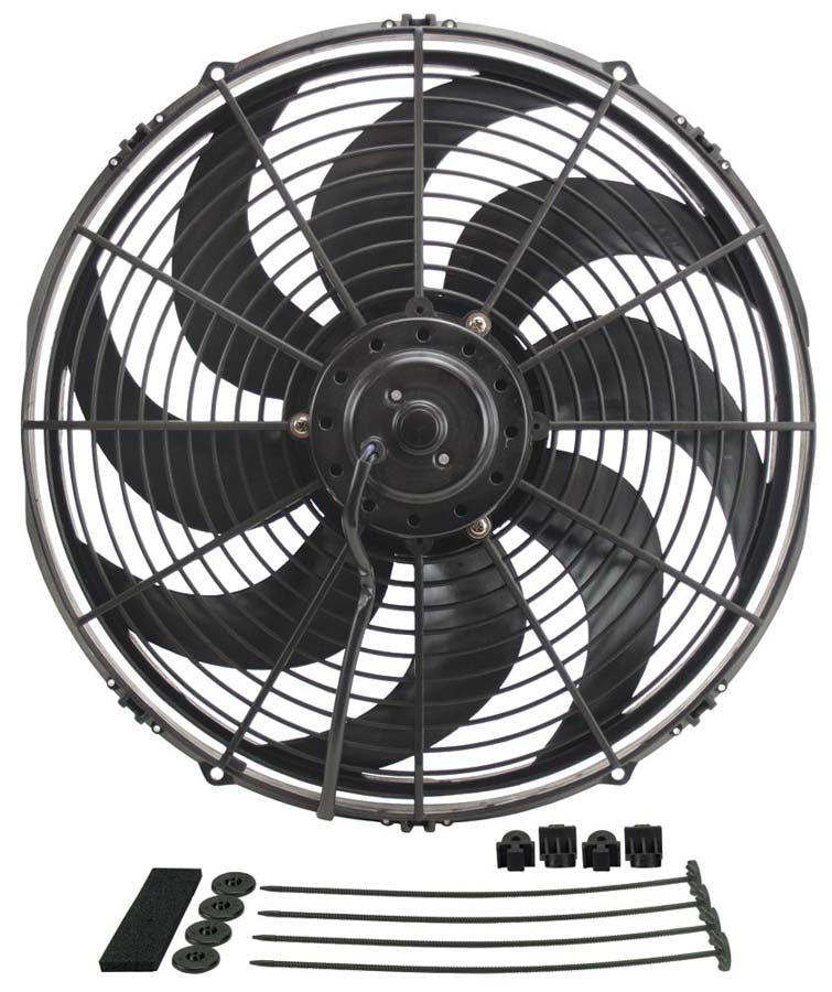 Derale 18916 16in Dyno-Cool Curved Bl ade Electric Fan