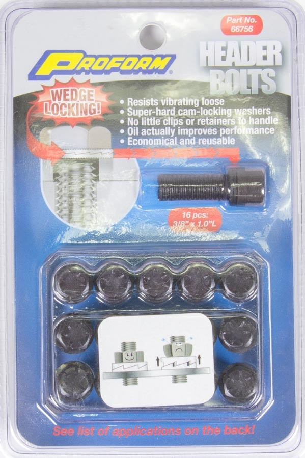 Proform 66756 Wedge Locking Header Bolts 3/8in x 1in 16pcs.