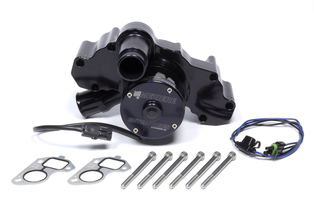 Meziere WP333S 300 Series Black Electric Water Pump Chevy LS