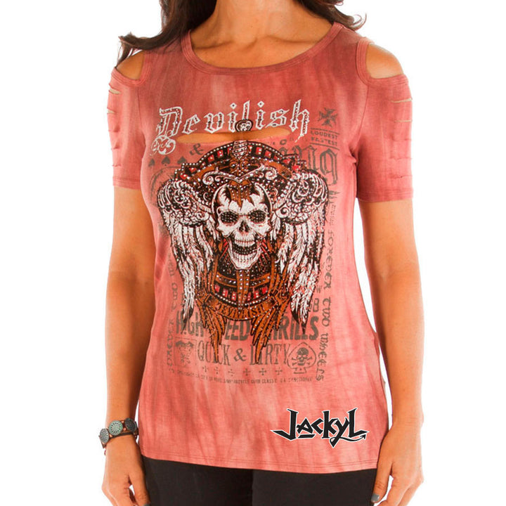 Devilish Skull Cutout T-Shirt